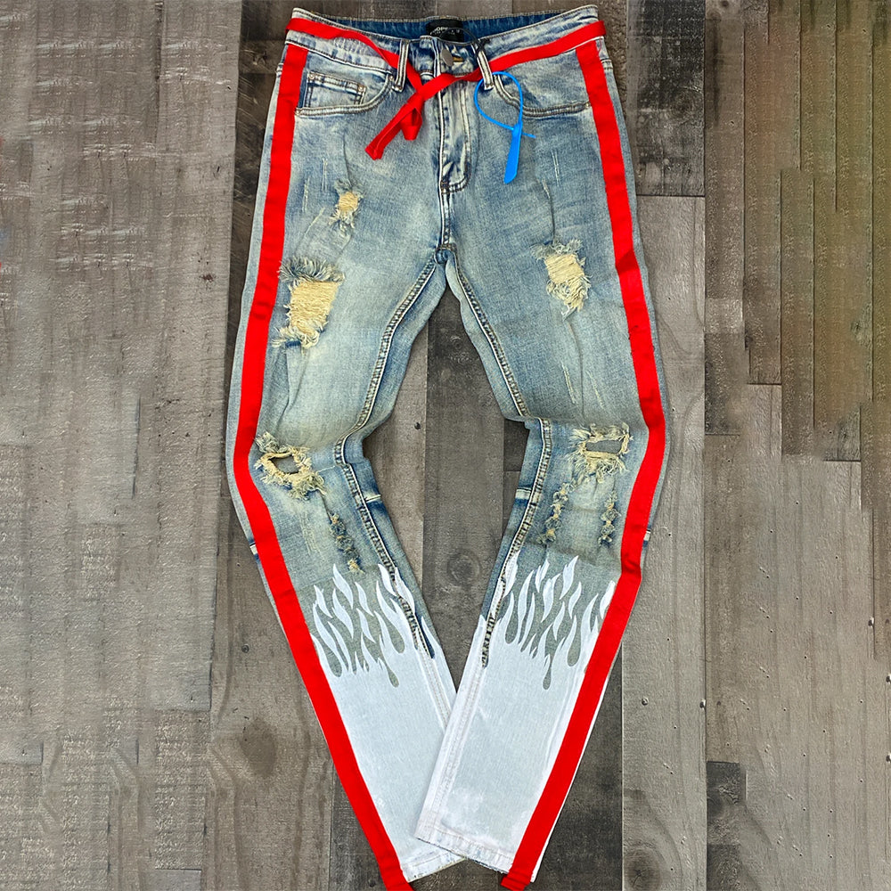 FLAME STRIPE DENIM JEANS