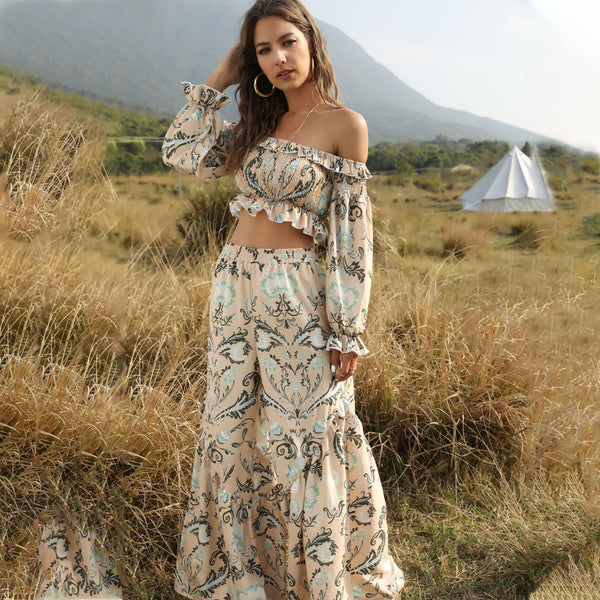 Bohemian print high waist wide leg pants two-piece suit