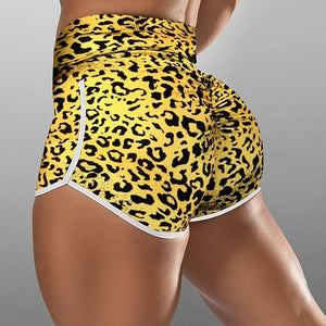 High waisted print bottomed pants YOGA SHORTS