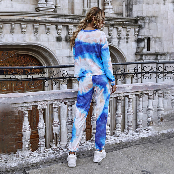 Tie-dye cool spin ring print pullover long-sleeved sweater suit