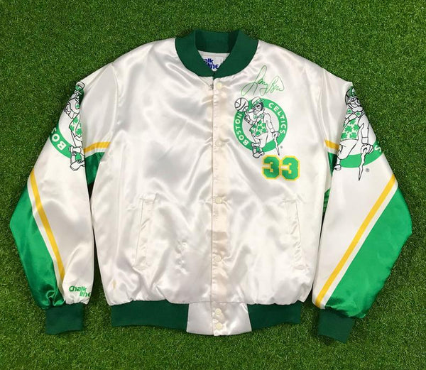 intage Boston Celtics (33) Larry Bird (Larry Bird) chalk line jacket