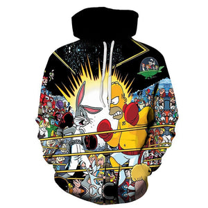 Fashion cartoon 3d digital printing hooded sweater
