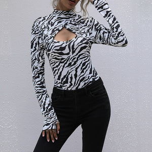 Long sleeve printed bottoming bodysuit
