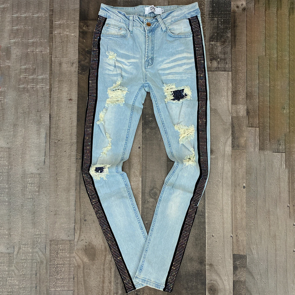 STUDDED STRIPE & PATCH DENIM JEANS