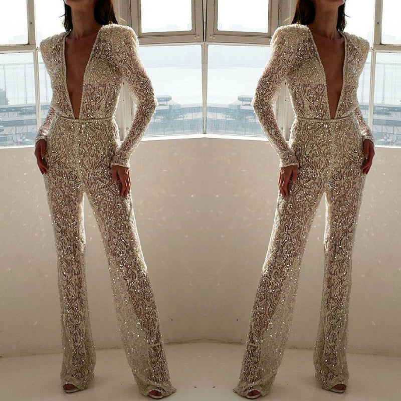 Embroidered lace glitter see-through jumpsuit