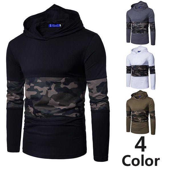 New camouflage mesh panel hooded long sleeve T-shirt