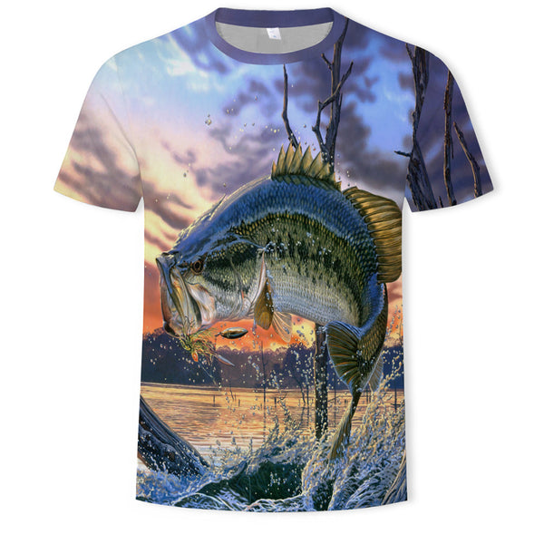 Cartoon fish 3D printed T-shirt