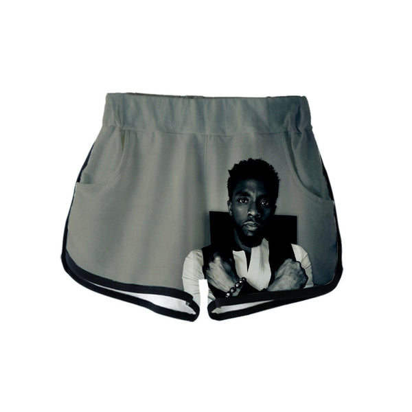 Chadwick Boseman digital print casual sports shorts