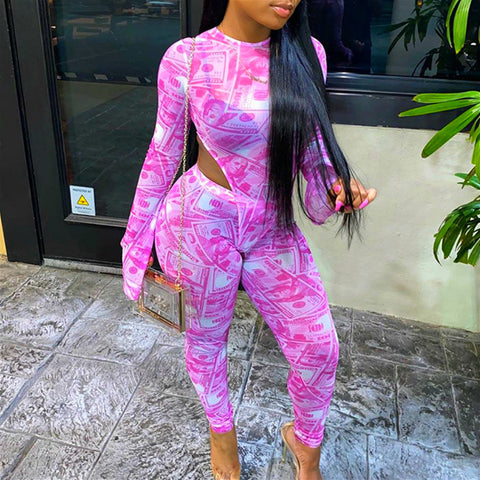 Mesh money print sexy jumpsuit