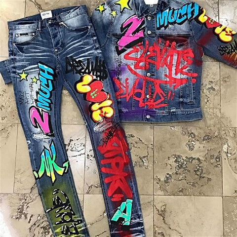 New punk street style men's jeans