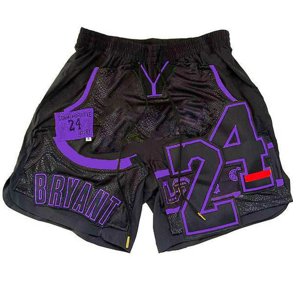 Letter number print sport style shorts