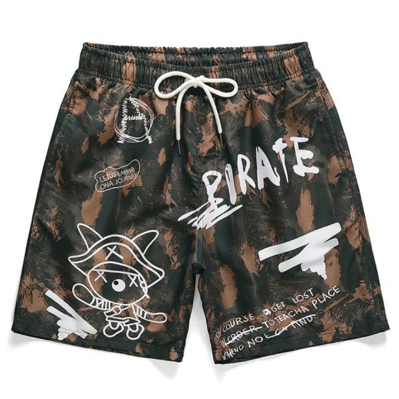 Letter Graphic Printed Casual Shorts