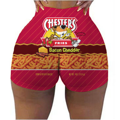 Chips print sexy booty shorts
