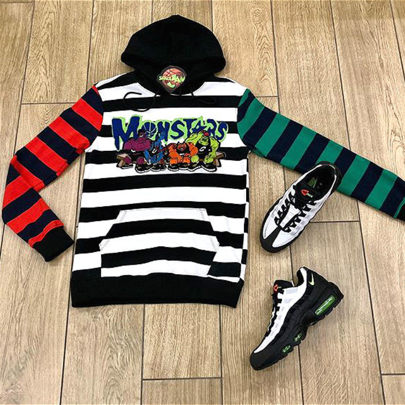 MONSTERS print stripe design hoodie