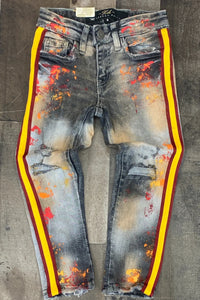 Yellow stripe design men's jeans