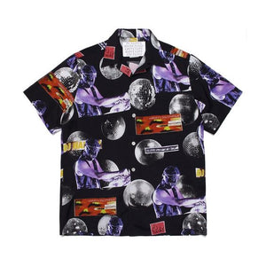 Fashion street print loose men's shirt