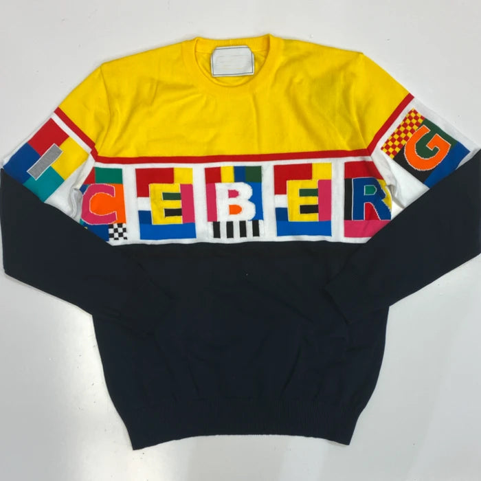 MULTICOLOR LETTER GRAPHIC SWEATER
