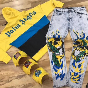 Gollum head graffiti high street hip hop jeans
