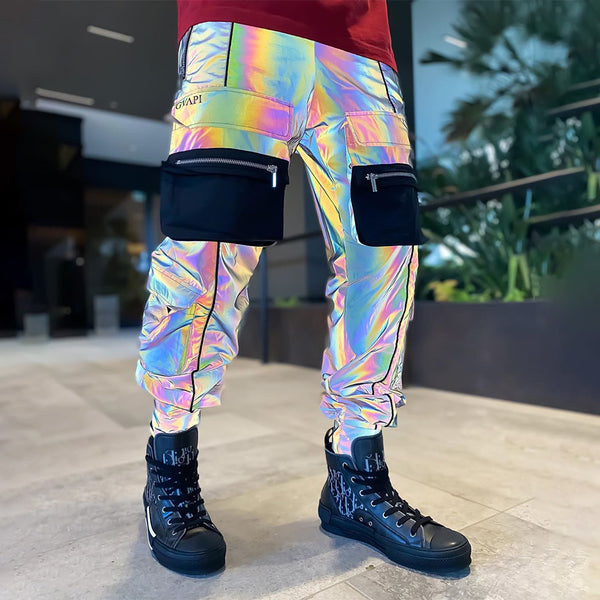 Hot rainbow reflective biker track pants