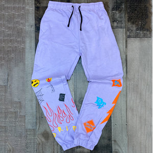 """FLAME ON DRIP"" SWEATPANTS (LILAC)"