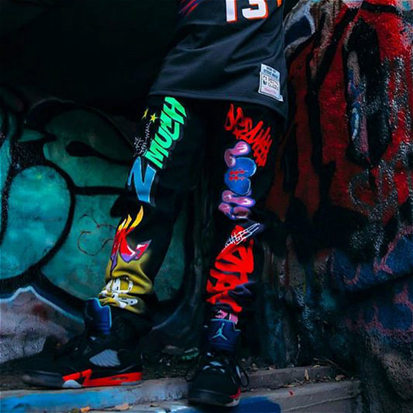 Street style painted men's jeans