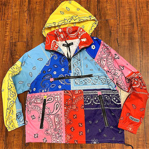 Paisley print color block zipper design hoodie