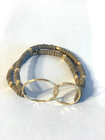 Bracelet, Beaded, Two Gold Circles - Danshire Market and Design