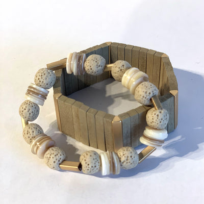 Bracelet, Rectangle Beads, Gold Bar - Danshire Market and Design
