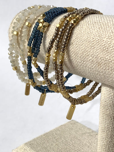 Bracelet, Gray + Gold, Stacked - Danshire Market and Design