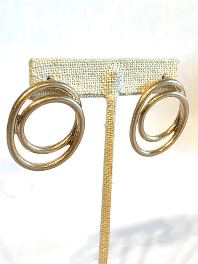 Earring, Double Circle, Gold - Danshire Market and Design