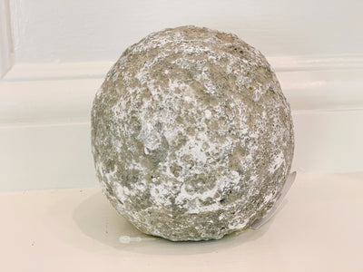 BIDK faux rock ceramic white moss medium decorative ball SKU: 148042