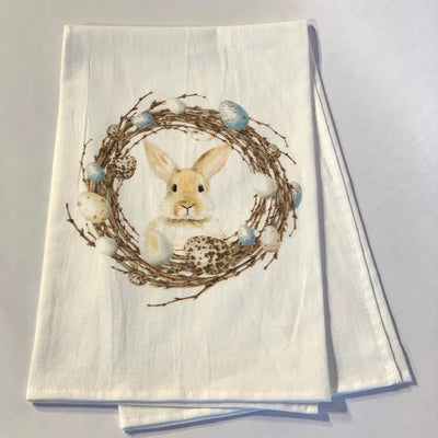 Hand Towel, One Bunny In Wreath - Danshire Market and Design