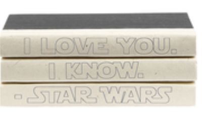 "E. Lawerence ""I love you. I know."" - Star Wars decorative books in cream SKU: QUOTES-03_STARWAR"