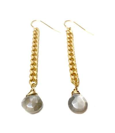 Earrings, Grey Moonstone - Danshire Market and Design