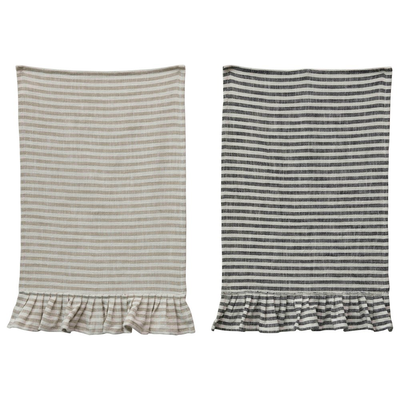 Hand Towel, Striped Cotton, Ruffle - Danshire Market and Design