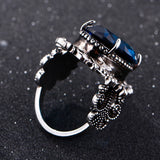 Bague Ringen New Arrival Vintage Big Oval Sapphire Gemstome Rings For Women Men 925 Sterling Silver Ring Anniversary Party Gifts