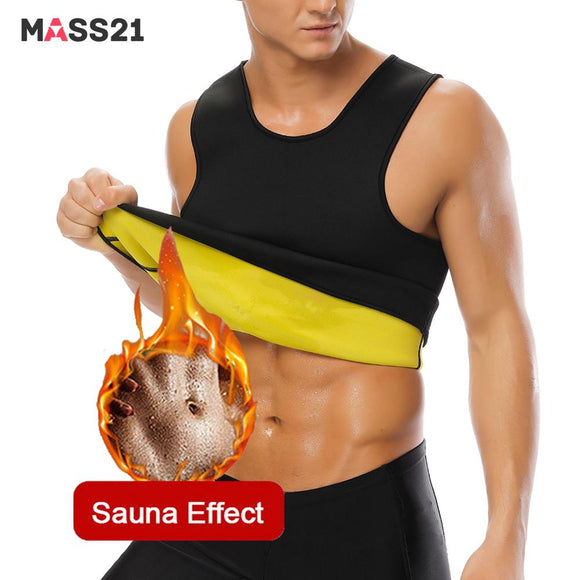 MASS21 Men Sweat Vest Body Shaper Shirt Thermo Slimming Sauna Suit Weight Loss Black Shapewear Neoprene Waist Trainer Corset