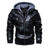 Men's PU Leather Jacket Men Motorcycle Hood Winter Coat Man Warm Casual Leather Jackets Male Slim Fit Bomber Windbreaker