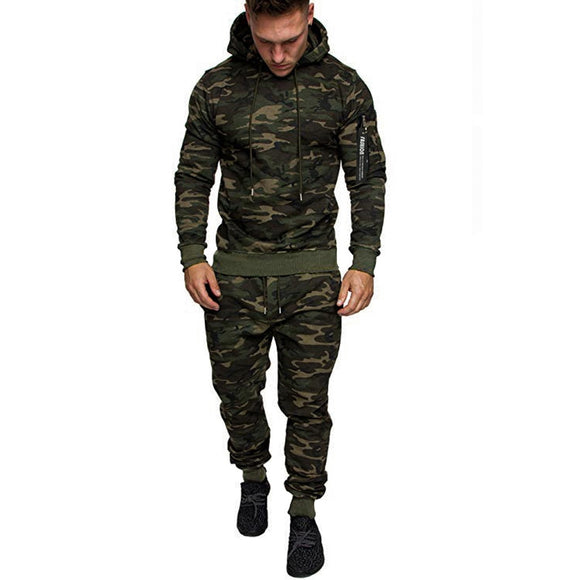 Feitong Camouflage Tracksuit Men Autumn Splicing Zipper Print Sweatshirt Top Pants Sets Sport Two Piece Clothing Sets Tracksuit