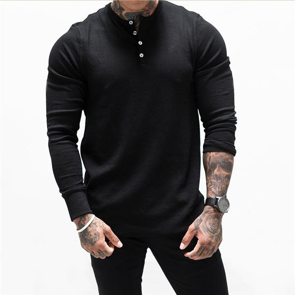 High quality Men New Bodybuilding Long sleeve t shirt Man Casual Fashion Slim T-Shirt Male Gyms Fitness Workout  Jogger Clothing