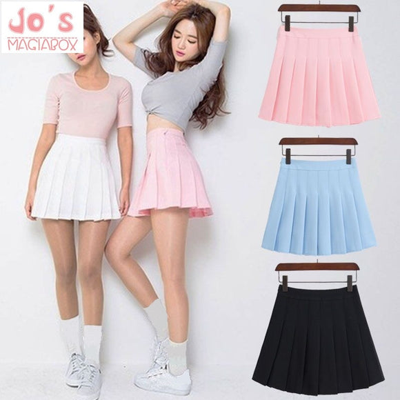 New Spring high waist ball pleated skirts Harajuku Denim Skirts solid a-line sailor skirt Plus Size Japanese school uniform