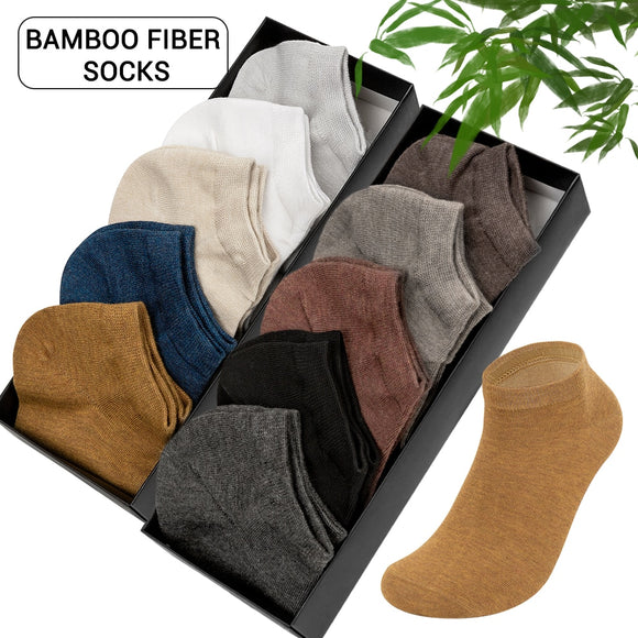 5 Pairs/10 Pairs Brand Bamboo Fiber Men's Socks Breathable Deodorant Summer Invisible Short Socks for Men Ankle Boat Socks