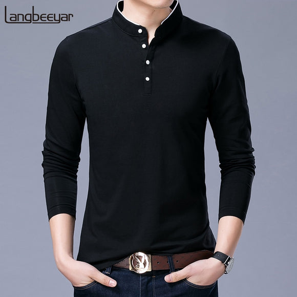 Hot Sell 2020 New Fashion Brand Clothing Polo Shirt Mens  Mandarin Collar Long Sleeve Slim Fit Boys Polos  Casual Men's Clothing