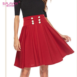 S.FLAVOR 2020 Spring Women A Line Skirts Ladies High Waist Solid Color Short Skirt Vintage Pleated Mini Skirts
