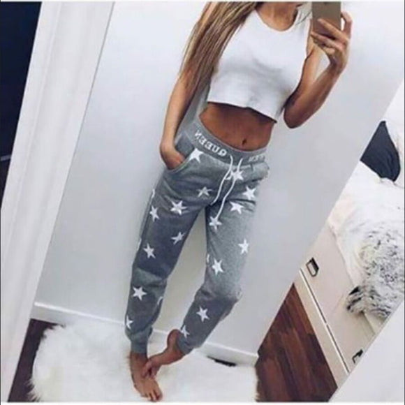 Solid Pants Capris Tracksuit - Printed Star Casual Long Trousers