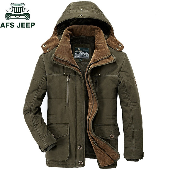 AFS JEEP Brand Thick Winter Parkas men Cotton Warm Jacket men Plus SIze 5XL 6XL 7XL Casual Multi-Pocket Parkas Hombre Invierno