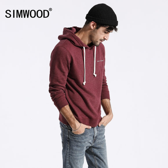 SIMWOOD Sweatshirts men solid color casual hoodies  2020 spring new embroidered hooded pullover joggers hoodie plus size 180211