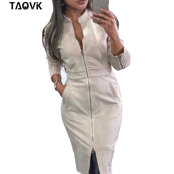 TAOVK High Street Suede Dress Women Long Sleeve Bodycon Zippers Dress Vintage Stand Collar Office Lady Dresses