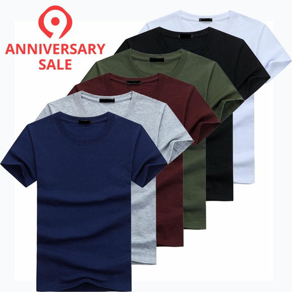 6pcs/lot High Quality Fashion Men's T-Shirts Casual Short Sleeve T-shirt Mens Solid Casual Cotton Tee Shirt Summer Clothing