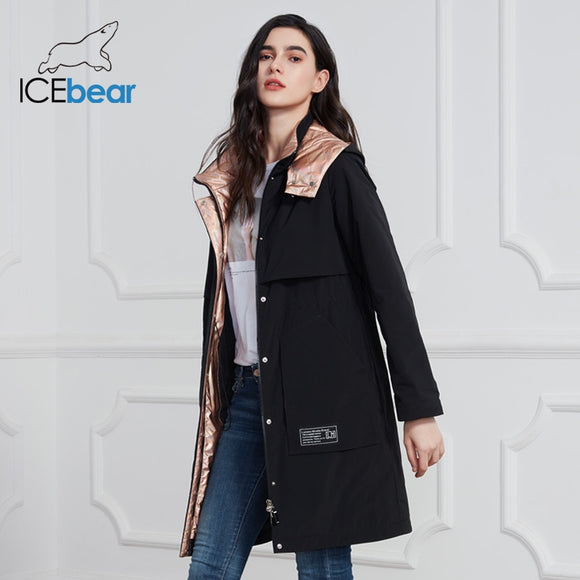 ICEbear 2020 New Women Coat Long Women Jacket Quality Women Coats Fashion Casual Women Clothing Brand Women Clothing GWC20727I